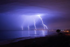Lightening strikes off the coast of Dana Point as seen from San Clemente on Monday morning. (Photo by Khristian Snyder)